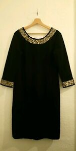Stunning Laura Ashley Black Sequin Scuba Bodycon Dress - Size 12- Worn Once