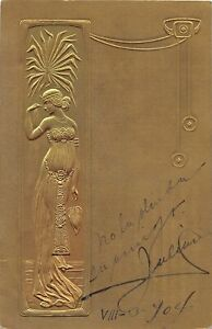 H71/ Interesting Postcard c1910 Raphael Kirchner? Artist Signed Gold Woman23