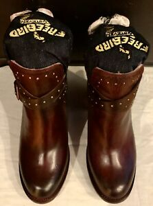 NEW RARE FREEBIRD BY STEVEN RED WINE BURGUNDY LEATHER ANKLE BOOTS SZ 8