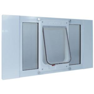 Chubby Cat Sash Window Door Insert Medium Flap White Aluminum 7.5 X 10.5 Inch