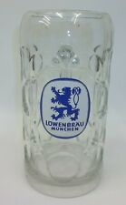 Lowenbrau Munchen Germany Beer Ale Dimpled Glass Large Stein