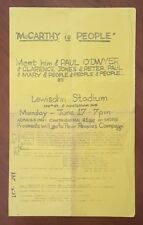 Eugene McCarthy Lewisohn Stadium Peter Paul Mary Poster 1968 Presidential Rally