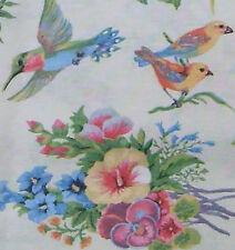 Stoff Vögel Blumen Baumwollmischung Shabby Vintage Dekostoff  creme 50 x140cm