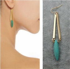 Vintage Women Boho Gold Natural Turquoise Hook Long Drop/Dangle Earrings Jewelry