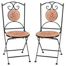 Set de 2 Sillas mosaico »ROMA« asiento de cerámica plegables 36x45x94cm jardín