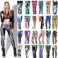 Womens 3D Printed Skinny Stretch Leggings Jegging High Waist Long Trousers Pants
