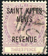 More details for st kitts-nevis-1885 3d mauve postal fiscal sg r4 fine used  v27466