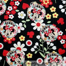 BonEful Fabric Cotton Quilt White Red Disney Minnie Mouse Daisy Flower Dot SCRAP