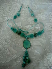 Beautiful Turquoise Blue Color Beaded Pendant Necklace & Matching Earrings - New