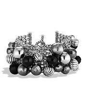 David Yurman Elements Cluster Bracelet - Sterling Silver, Black Onyx, Hematine