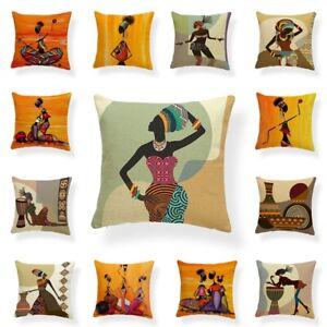 Fashion Cushion Cover African Women Print Pillowcase Throw Pillow Covers Case