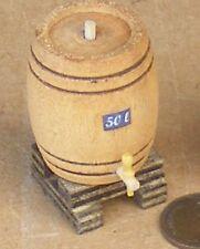1:12 Scale Medium Upright Wooden 50L Barrel + Stand Dolls House Pub Accessory