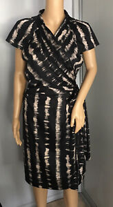 DAVID LAWRENCE BLACK/LATTE WRAP DRESS SIZE 14