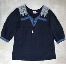 Juicy Couture Ladies Boho Navy Cotton Top Size 12 Used
