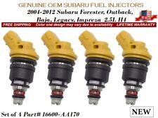 4 NEW Fuel Injectors Subaru OEM 04-12 Forester Outback Legacy Impreza Baja 2.5L