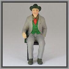 Dingler Handbemalte Figur aus Polyresin Spur 1 Mann sitzend, grau (100215-02)