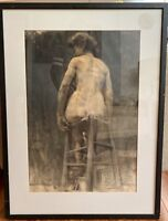 Original Antique 1907 Maurice Berthon Drawing Charcoal Nude Woman Study Signed