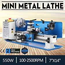 """550W 7""""x14"""" Mini Metal Lathe Metalworking Tool Variable Speed Readout Cutter"""