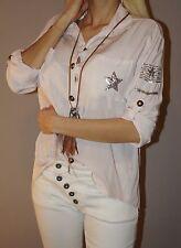 !!! SALE !! Tunika Pailletten Stern Army Blogger Hemd 50% Seide S 36 - 40 L Rosa