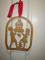 Vintage Wood Cut Out Christmas Tree Ornament Decoration Scandinavian Candles
