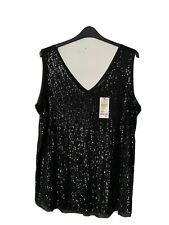 Next Maternitiy Ladies Sleeveless Black Sequined  Sparkly  Top Size 20 BNWT