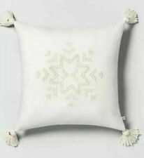 Hearth & Hand Snowflake Embroidered Toss Pillow Tonal Cream with Tassels - NWT
