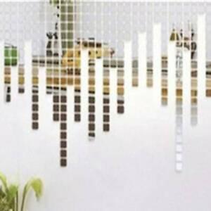 100 Pcs Square Mirror Wall Sticker Art Removable Decal DIY Home Decor HC