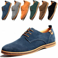 Men Suede Leather Shoes Oxfords Dress Formal Lace Up Flats Loafars US Size 6-12