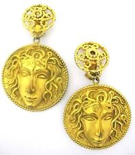 "Dominique AURIENTIS Medusa Head DANGLE Earrings~2""W x 3-1/2"" Drop~Couture Runway"