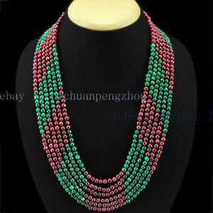 6 Rows Genuine 4mm Emerald Ruby Round Gemstone Beads Necklace 17-22''