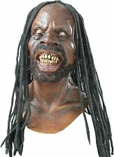 Halloween THE DREADED ONE ZOMBIE WITH HAIR ADULT LATEX DELUXE MASK COSTUME NEW