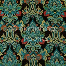 Quality Rich Detail Damask Floral Pattern Teal Blue Upholstery Furnishing Fabric