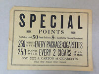 """""""Special Points: You Get Atleast 50 Points..."""" Cigarette Store Advert."""