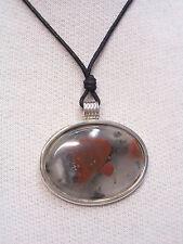 Ciondolo in ARGENTO 925 con AGATA naturale e girocollo - pendente pietra dura -