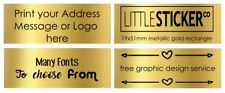 Gold Return Address Labels, Personalised Gold rectangle Stickers customised 100