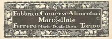 Y2625 Marmellate Ferrero - Docks Dora - Torino - Pubblicità del 1922 - Old ad