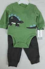 NEW CARTER'S 3 Month 2PC OUTFIT Green Long Sleeve Shirt Brown Pants Dinosaur