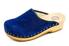 Berkemann Femmes Bois Sabots Mules Sandales Bleu Taille 37,5