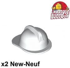 Lego - 2x Minifig headgear casque pompier fire blanc/white 3834 NEUF