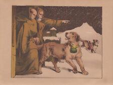 St Bernard Hospice Switzerland Monks & Saint Bernard Dog Antique Lithograph 1865