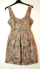 BROWN GREY PINK FLORAL LADIES CASUAL SKATER DRESS SIZE S BY WAL G MADE IN  ITALY fc1ef0198