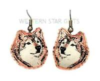 Wolf Head Copper Earrings Silver Plated Handmade Jewelry Gift Dangle Drop New