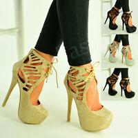 New Womens High Stiletto Heel Pumps Sparkle Platform Glitter Shoes Size Uk 3-8