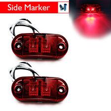 2PCS 2 LED CLEARANCE LIGHTS SIDE MARKER LAMP RED CARAVAN TRAILER TRUCK 10V-32V