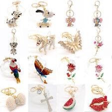 Key Chains Animal Keyring Crystal Charm Pendants Necklace for Purse Bag Gift