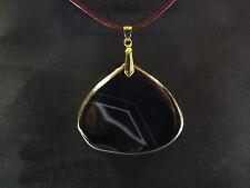 Braune Lederkette mit Streifen Achat, 24 Karat vergoldet, Goldrand, schwarz,neu