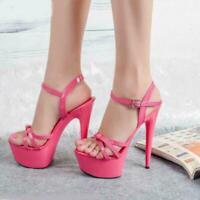 Womens 15cm Stilettos High Heels Open Toe Shoes Platform Ankle Strap Sandals New