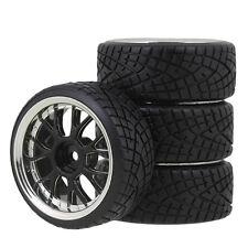 4PCS RC1:10 Drift Car 12mm Plating Y-spoke Spoke Hub black Wheel Rim and Tires