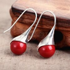 New Fashion Women's Natural Red Coral 925 Sterling Silver Hook Dangle Earrings