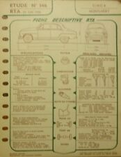 Fiche technique automobile RTA SIMCA MONTLHERY N° 146 1958